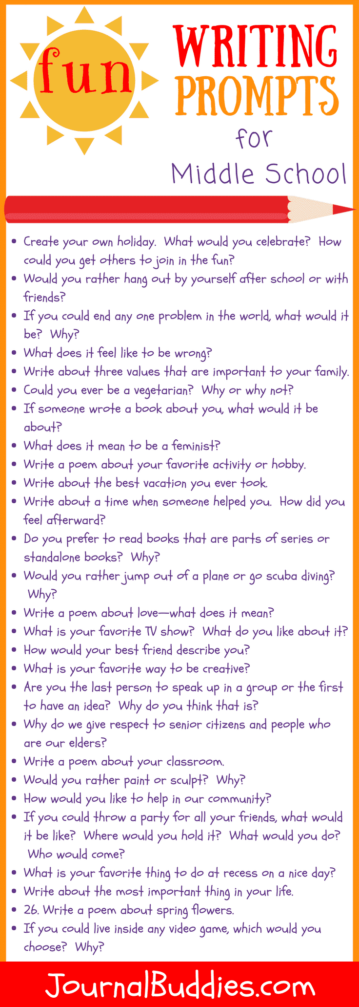 31 Fun Writing Prompts For Middle School • Journalbuddies - Free Printable Writing Prompts For Middle School