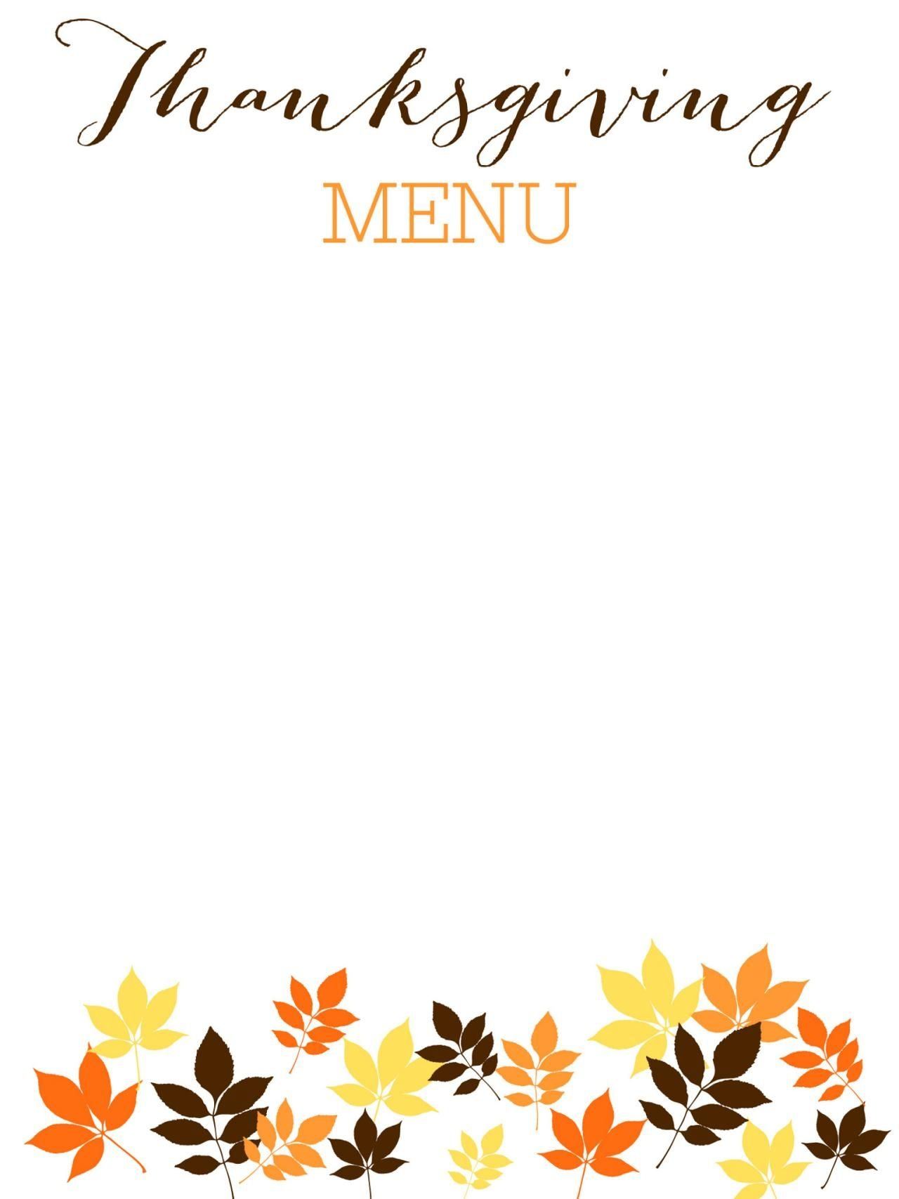 31 Printable (And Free!) Thanksgiving Templates   Examen Final - Free Printable Thanksgiving Menu Template