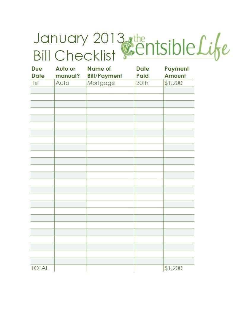 32 Free Bill Pay Checklists & Bill Calendars (Pdf, Word & Excel) - Free Printable Bill Payment Checklist