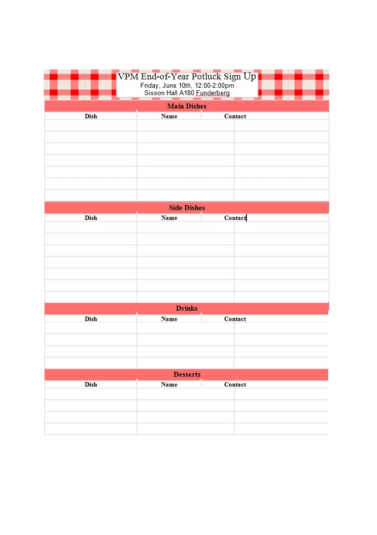 38 Best Potluck Sign-Up Sheets (For Any Occasion) ᐅ Template Lab - Free Printable Sign Up Sheets For Potlucks