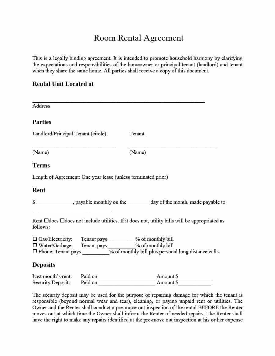 39 Simple Room Rental Agreement Templates - Template Archive - Free Printable Room Rental Agreement Forms