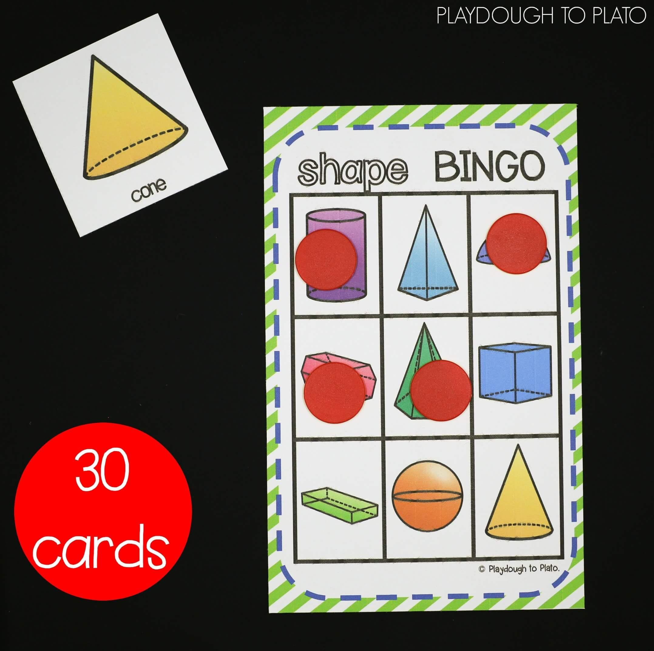 3D Shapes Activity Pack - Playdough To Plato - 3D Shape Bingo Free Printable