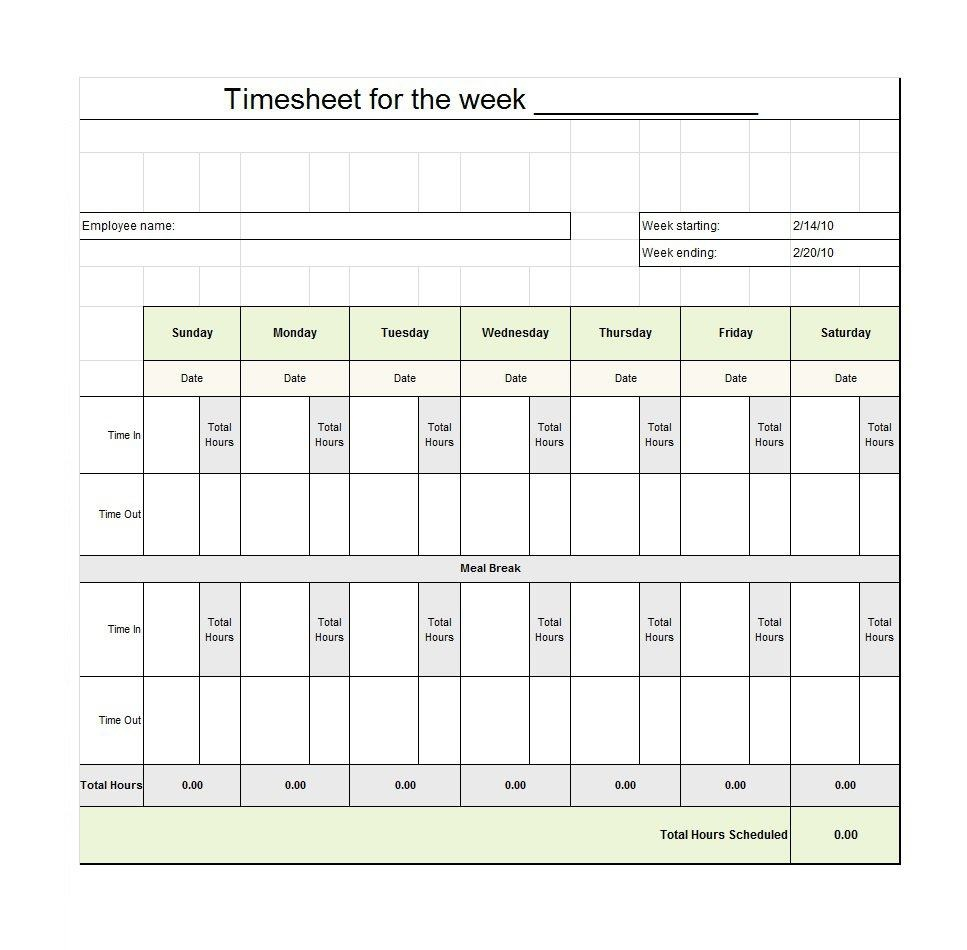 40 Free Timesheet / Time Card Templates ᐅ Template Lab - Free Printable Weekly Time Sheets