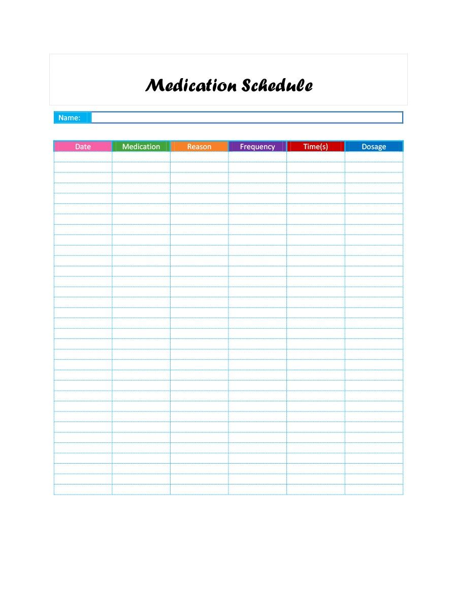 40 Great Medication Schedule Templates (+Medication Calendars) - Free Printable Medication Chart