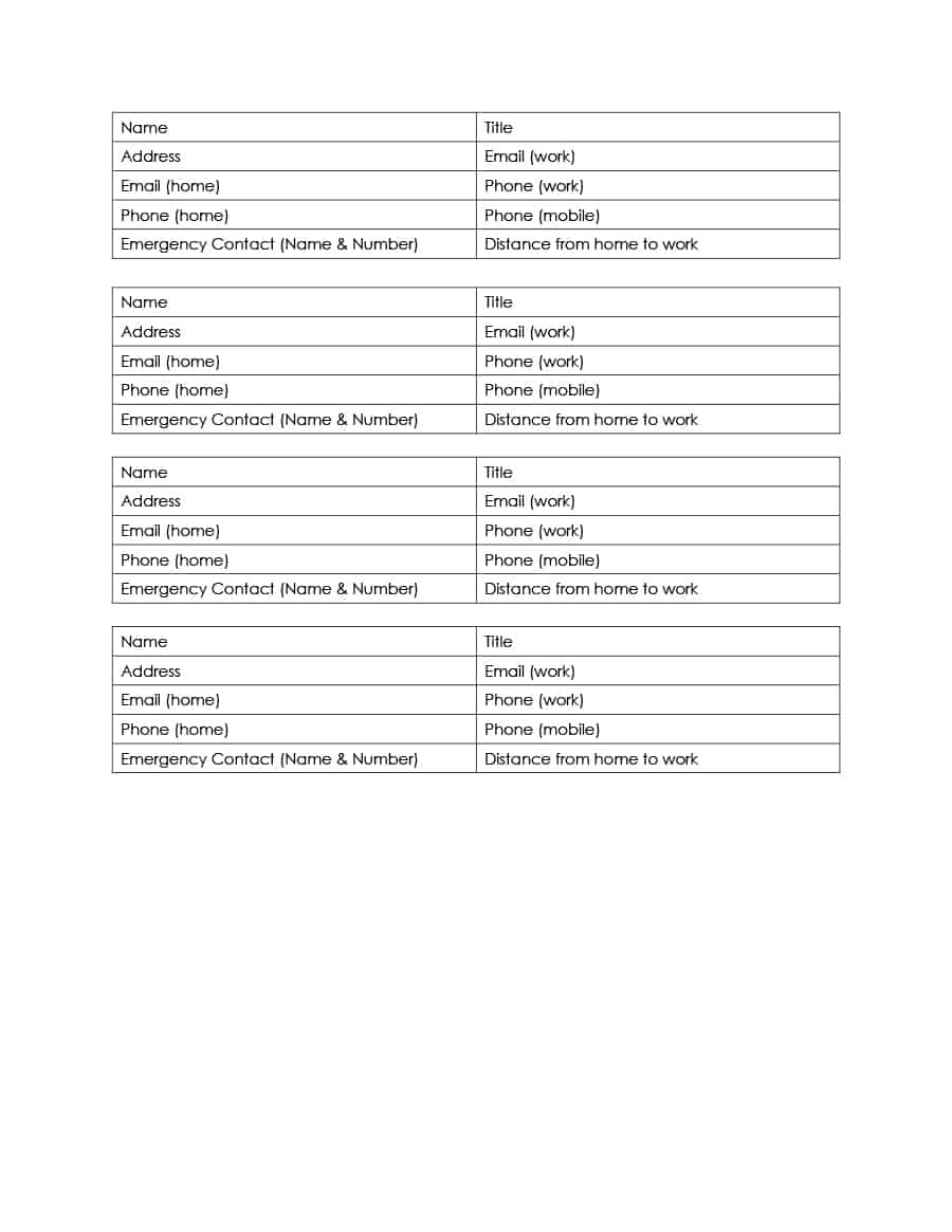40 Phone & Email Contact List Templates [Word, Excel] ᐅ Template Lab - Free Printable Numbered List