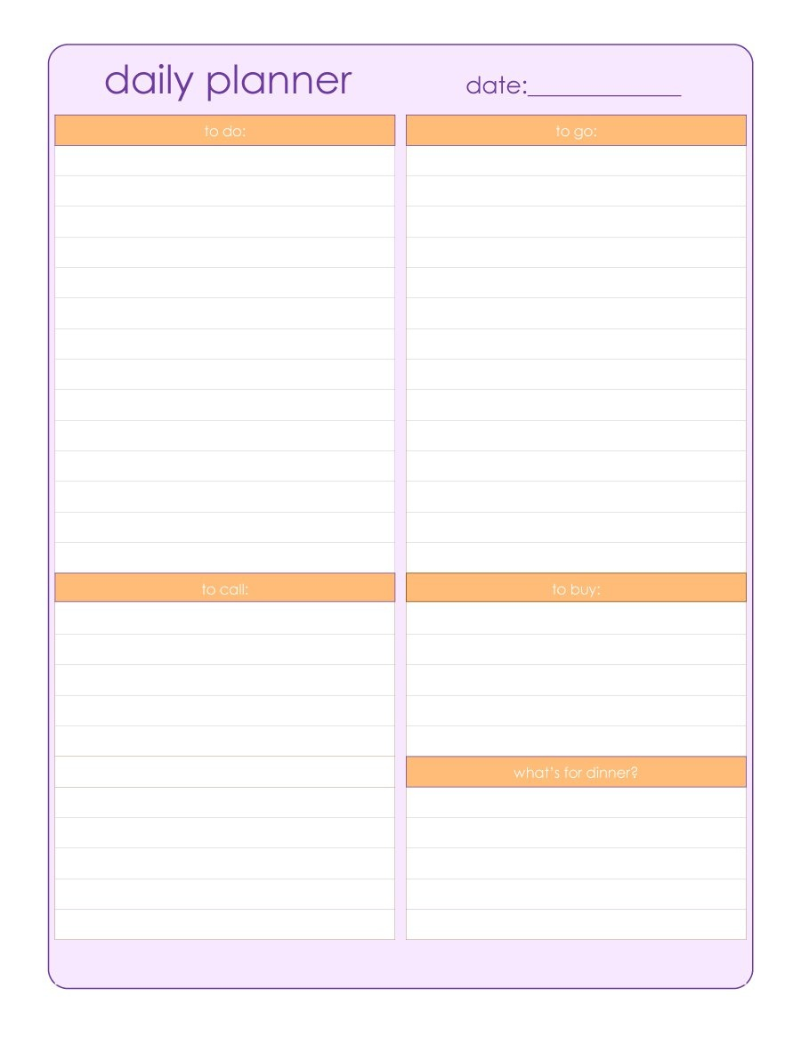 40+ Printable Daily Planner Templates (Free) ᐅ Template Lab - To Do Template Free Printable
