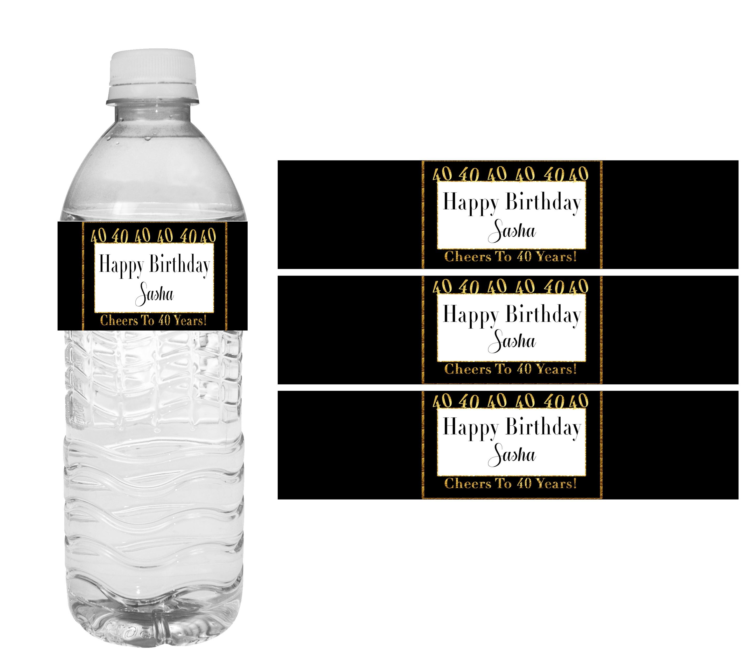 40Th Birthday Party Decorations- Diy Printable Water Bottle Labels - Free Printable Water Bottle Labels For Birthday