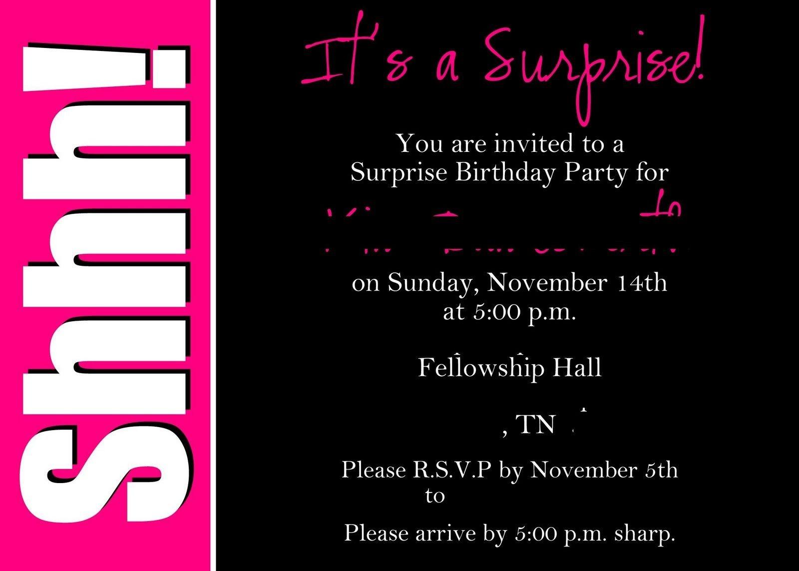 40Th Surprise Birthday Party Invitations | Free Printable Birthday - Free Printable Surprise 60Th Birthday Invitations