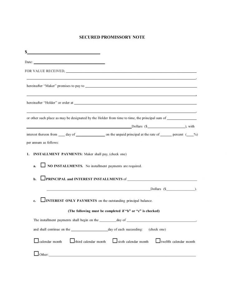Free Printable Promissory Note Template