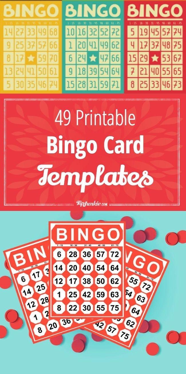 49 Printable Bingo Card Templates | Printables | Bingo Card Template - Free Printable Bingo Cards 1 75