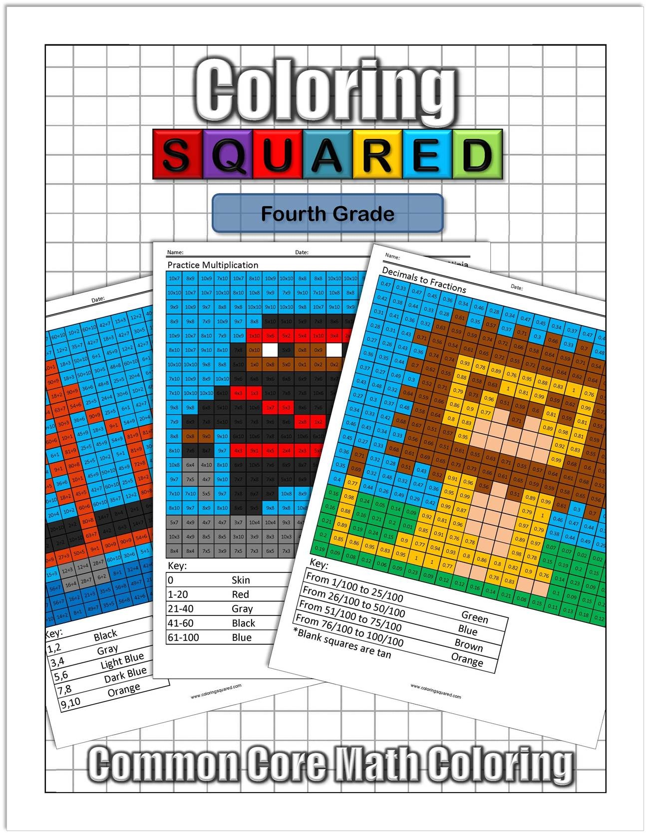 4Th Grade Math - Coloring Squared - Free Printable Fun Math Worksheets For 4Th Grade