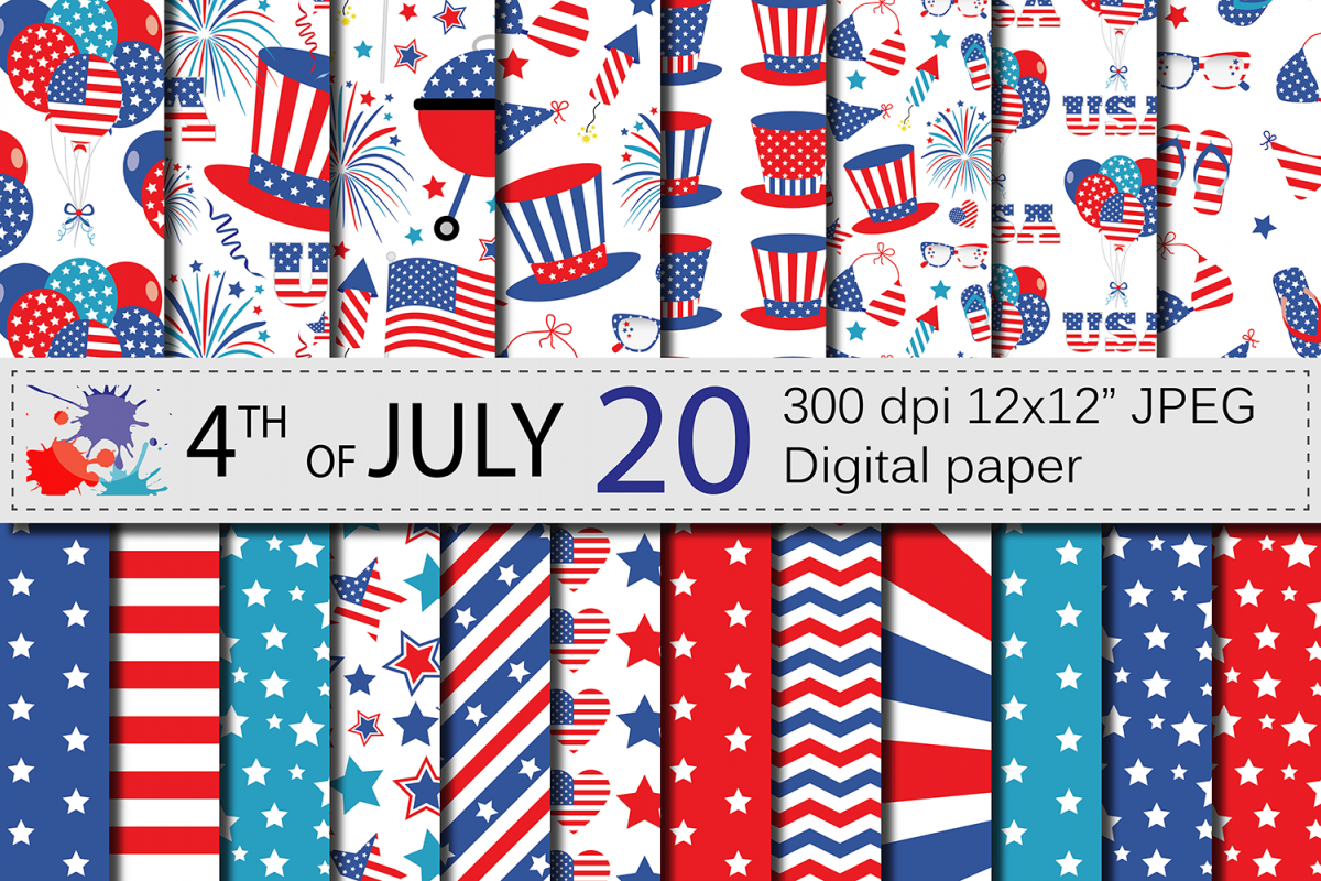 4Th Of July Digital Paper / Usa Independence Day Backgrounds - Free Printable Patriotic Scrapbook Paper