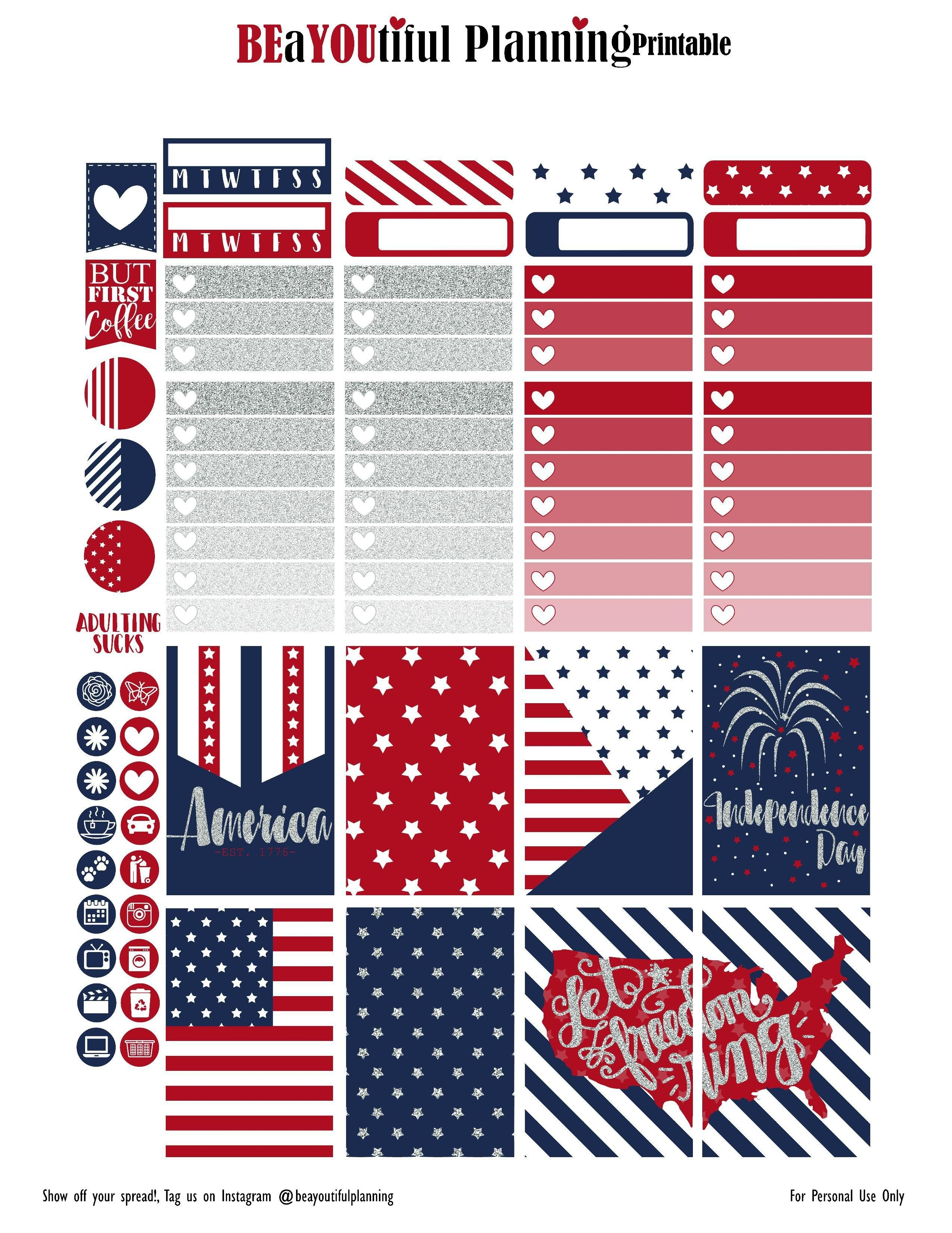 4Th Of July – Free Printable | Planners & Bullet Journals | Create - Free Printable 4Th Of July Stationery
