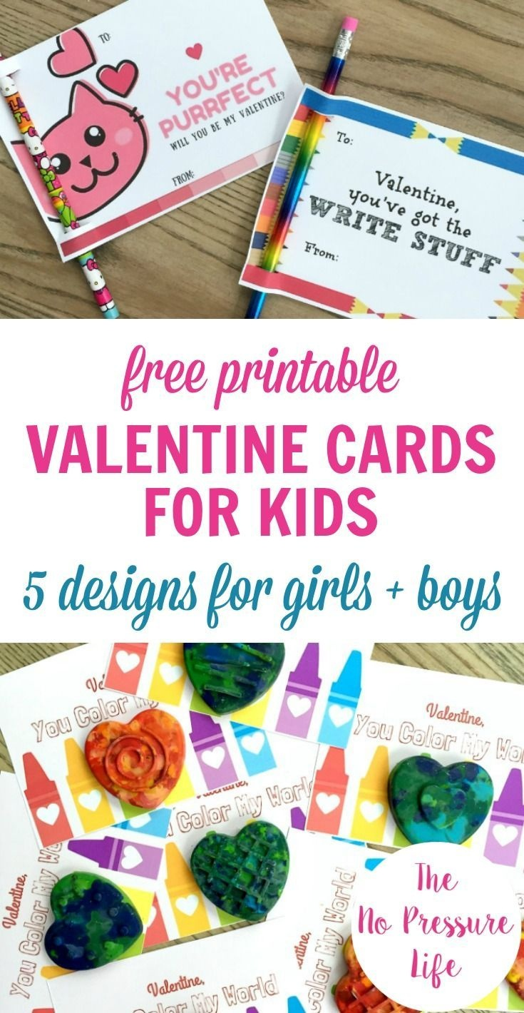 5 Free Printable Valentine's Day Cards For Kids | Try | Kids Crafts - Free Printable Valentine Cards For Preschoolers