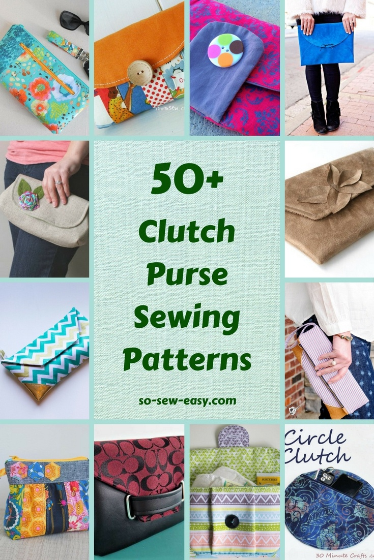 50+ Free Clutch Purse Sewing Patterns - So Sew Easy - Free Printable Purse Patterns To Sew