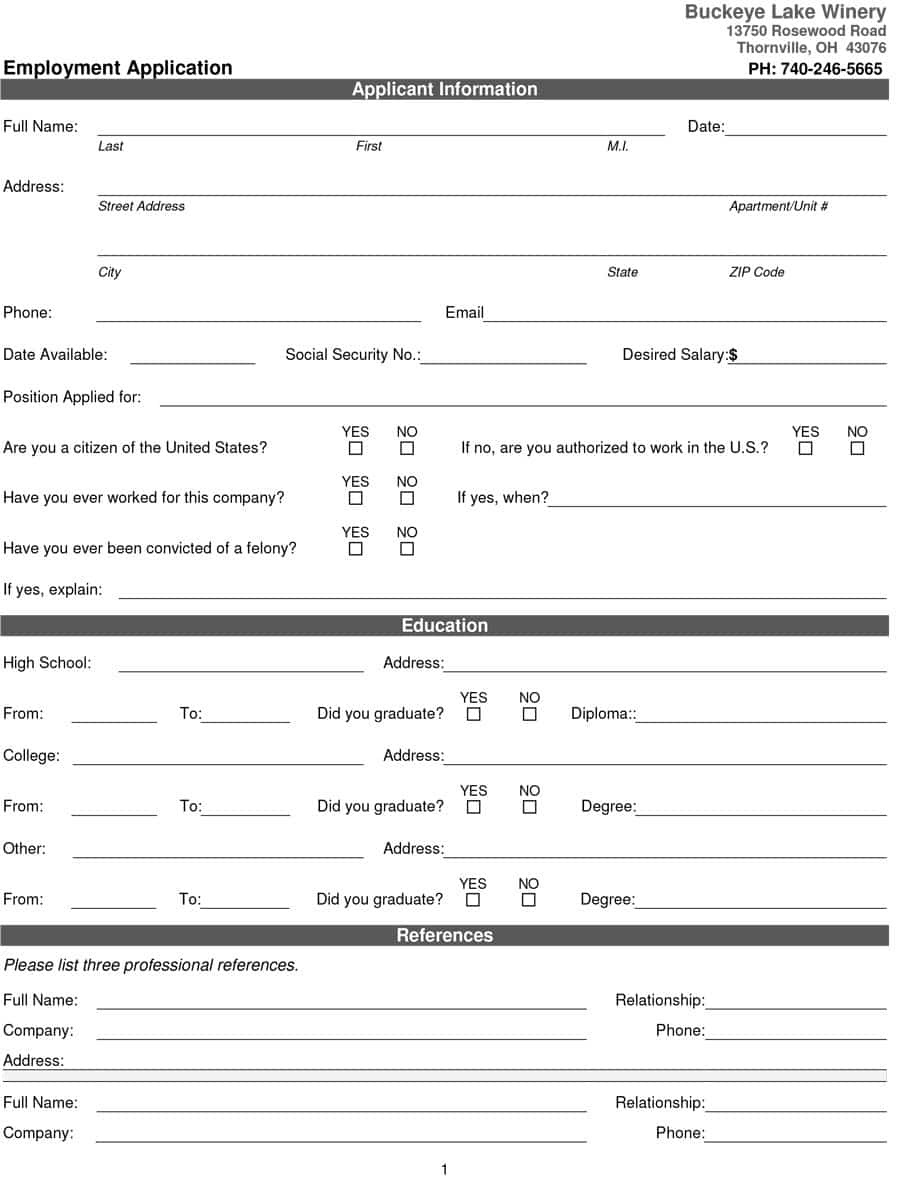 50 Free Employment / Job Application Form Templates [Printable] ᐅ - Free Online Printable Applications
