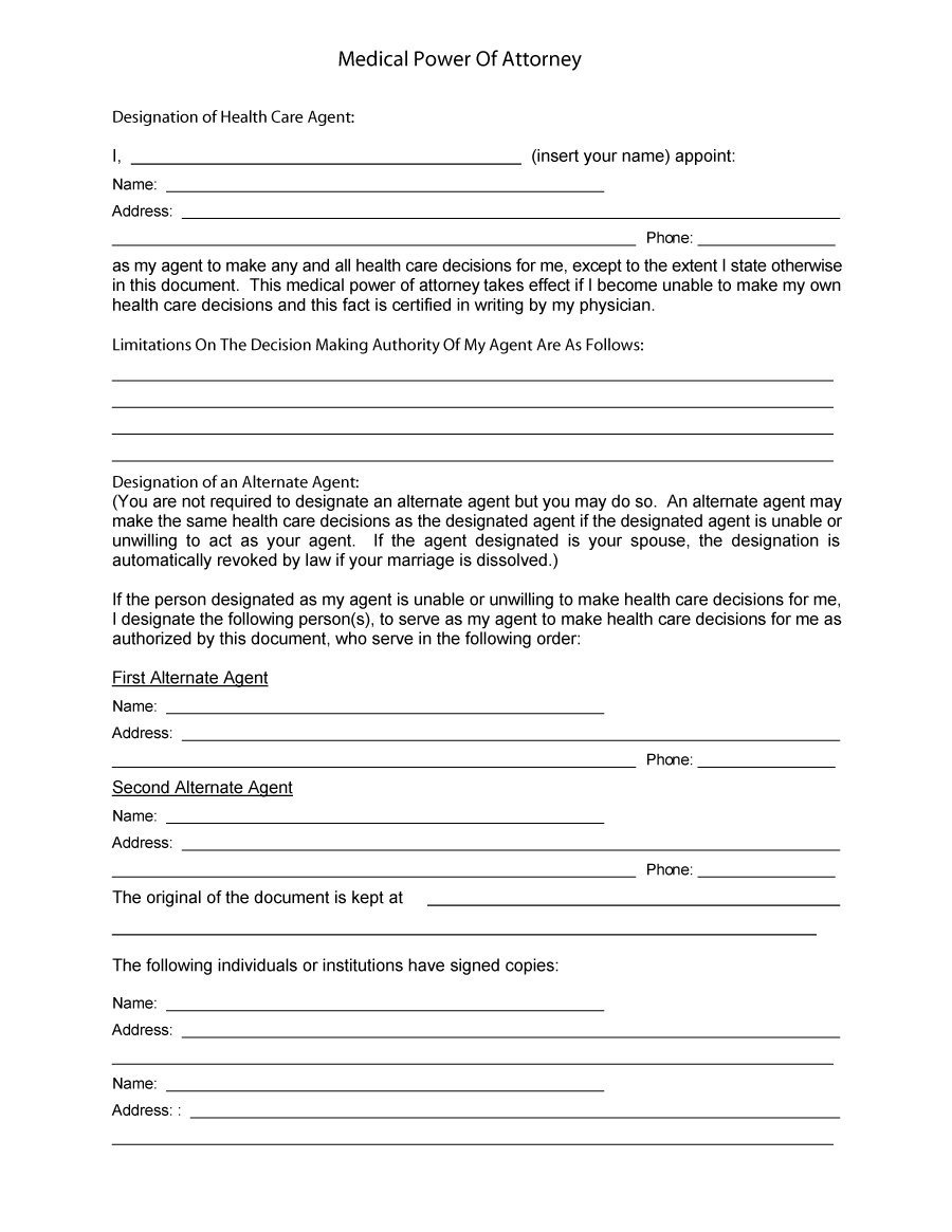50 Free Power Of Attorney Forms & Templates (Durable, Medical,general) - Free Printable Medical Power Of Attorney