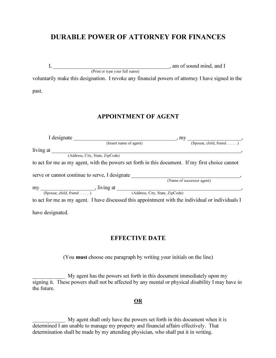 50 Free Power Of Attorney Forms & Templates (Durable, Medical,general) - Free Printable Power Of Attorney