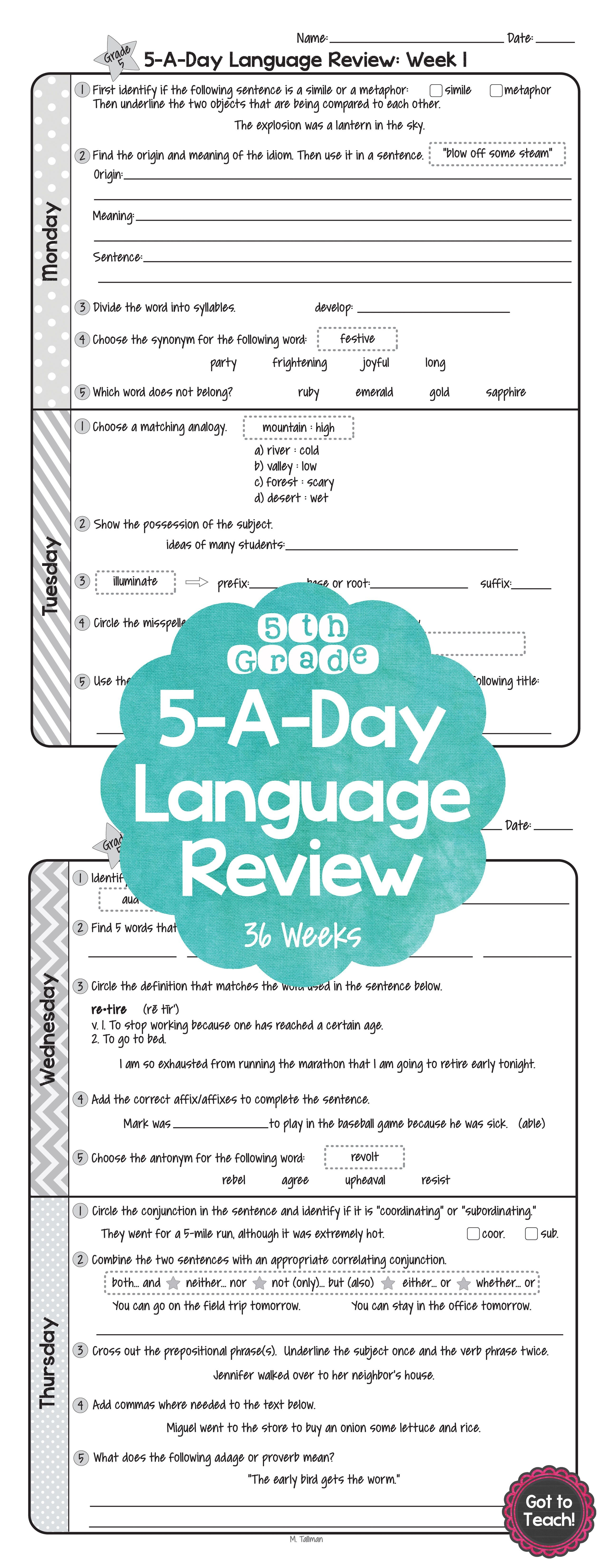 5Th Grade Daily Language Spiral Review Morning Work Editable - Daily Language Review Grade 5 Free Printable