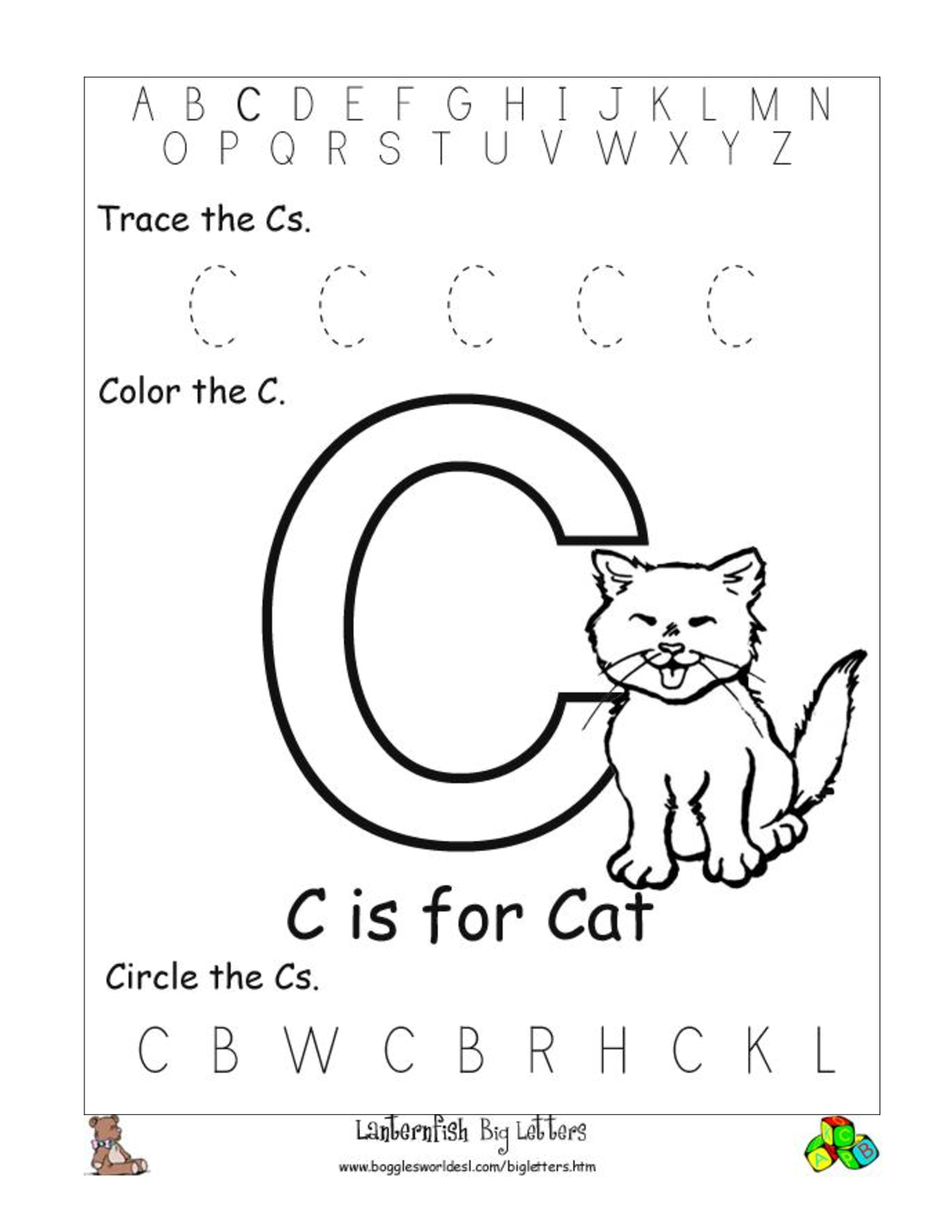 6 Best Images Of Free Printable Preschool Worksheets Letter C | Day - Free Printable Preschool Worksheets Letter C