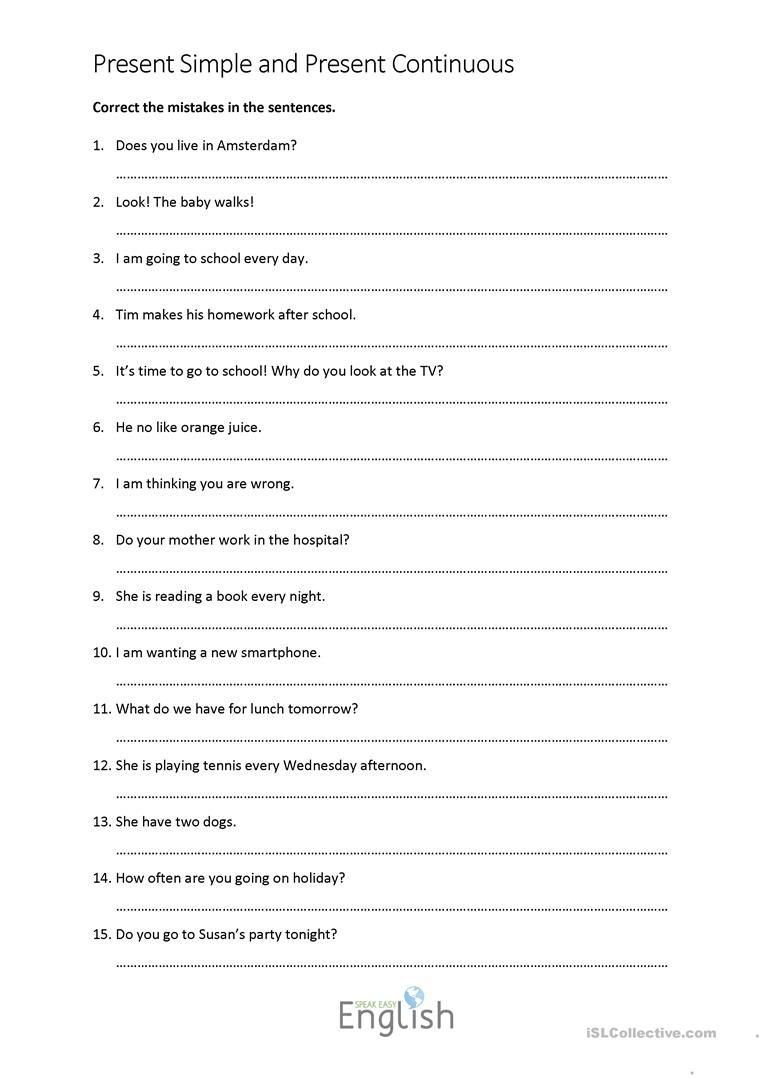 6 Free Esl Grammar Correction Worksheets - Free Printable Sentence Correction Worksheets