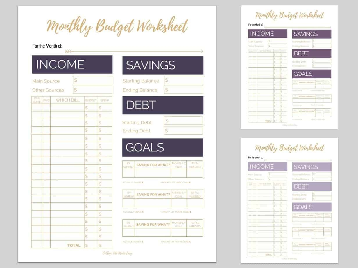 6 Free Monthly Budget Printables That Are Proven To Help You Pay Off - Free Printable Monthly Bills Worksheet