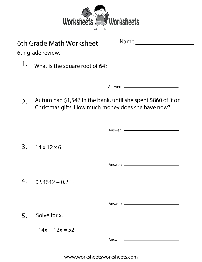 6 Grade Math Worksheets | Sixth Grade Math Practice Worksheet - Free - 6Th Grade Writing Worksheets Printable Free