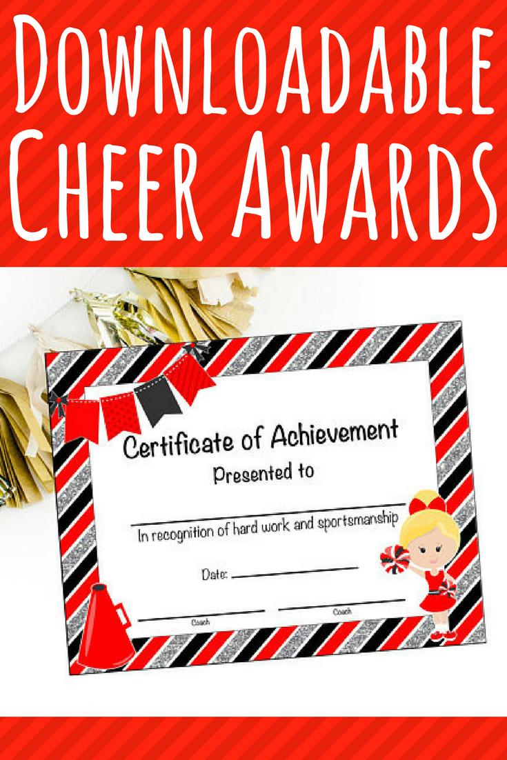 $6. Instant Download - Cheerleading Certificate - Cheerleading Award - Free Printable Cheerleading Certificates