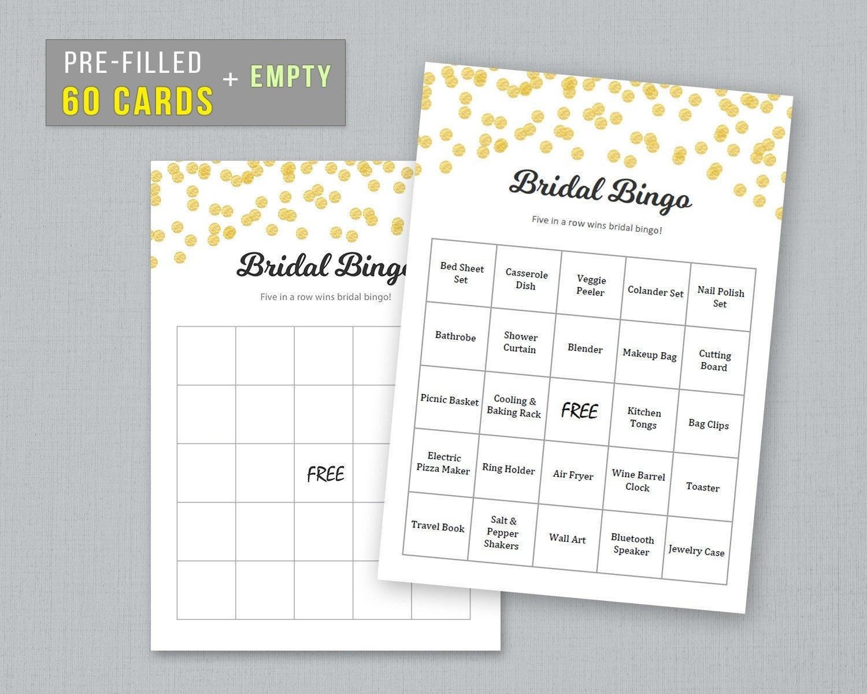 60 Prefilled Bridal Bingo Cards Empty Bingo Sheet Printable | Etsy - Free Printable Bingo Cards And Call Sheet