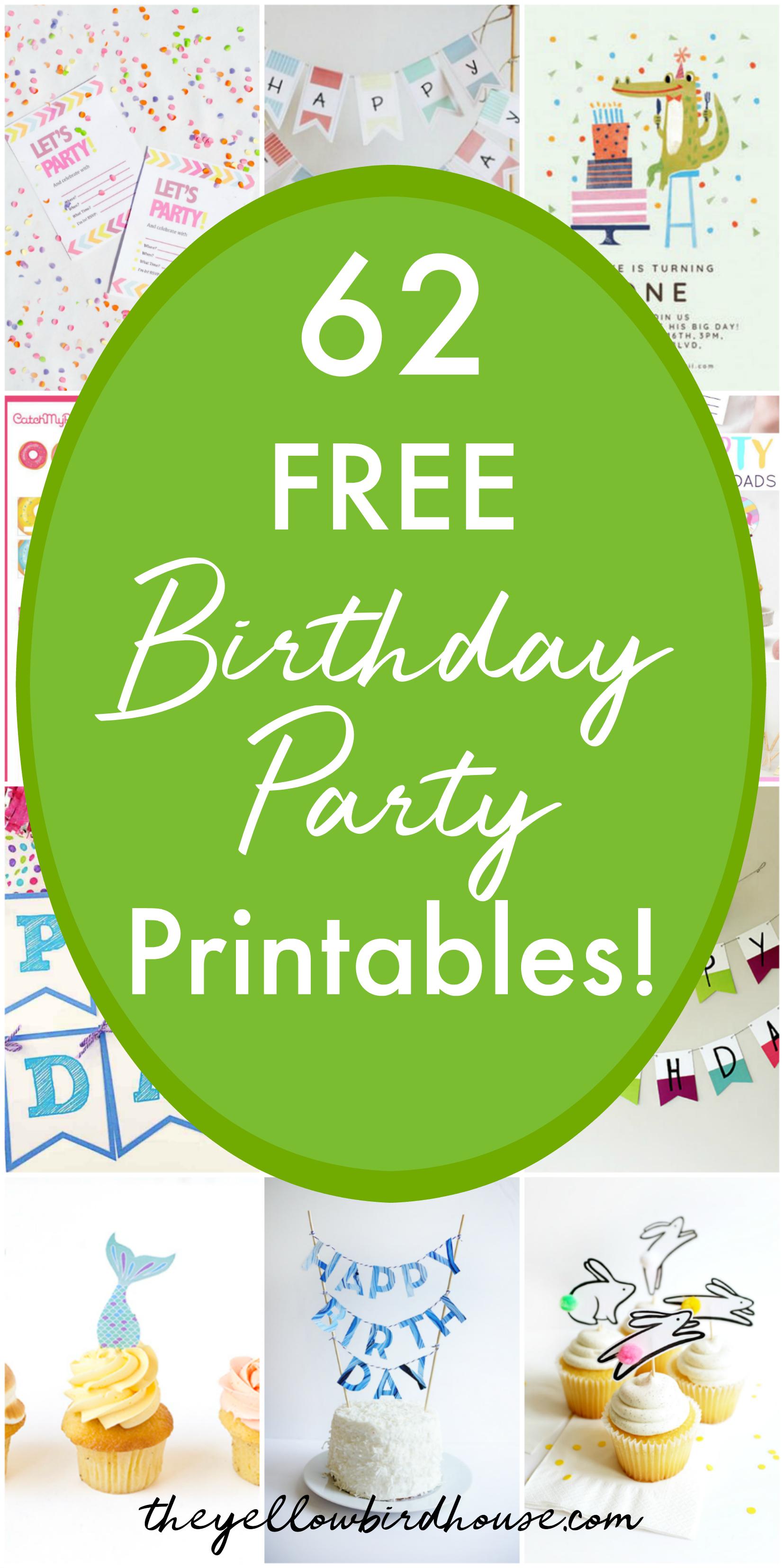62 Free Birthday Party Printables | The Yellow Birdhouse - Free Printable Happy Birthday Cake Topper