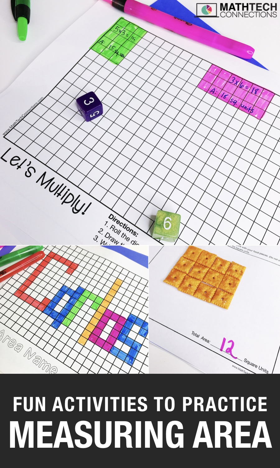 7 Activities To Review Area - Math Tech Connections - Free Printable Math Centers
