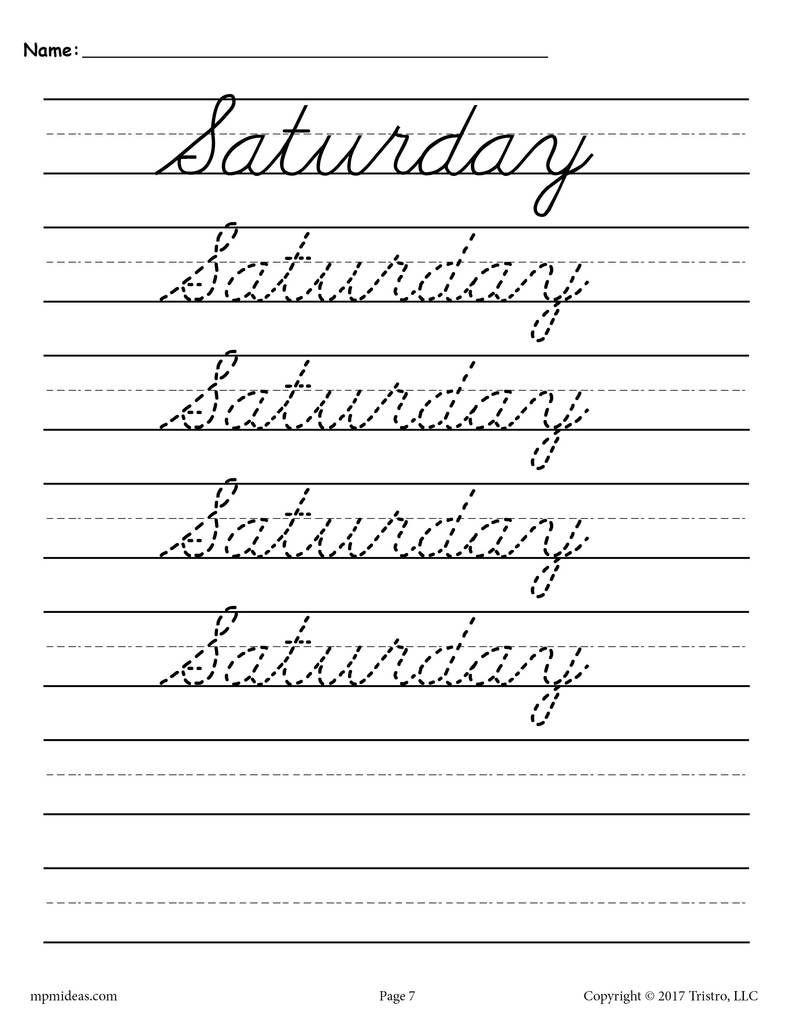 7 Free Days Of The Week Cursive Handwriting Worksheets | Alphabet - Free Printable Cursive Handwriting Worksheets