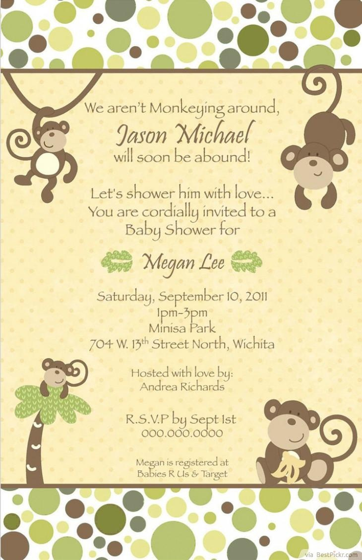 7 Printable Monkey Baby Shower Invitations | Bestpickr - Free Printable Monkey Birthday Party Invitations