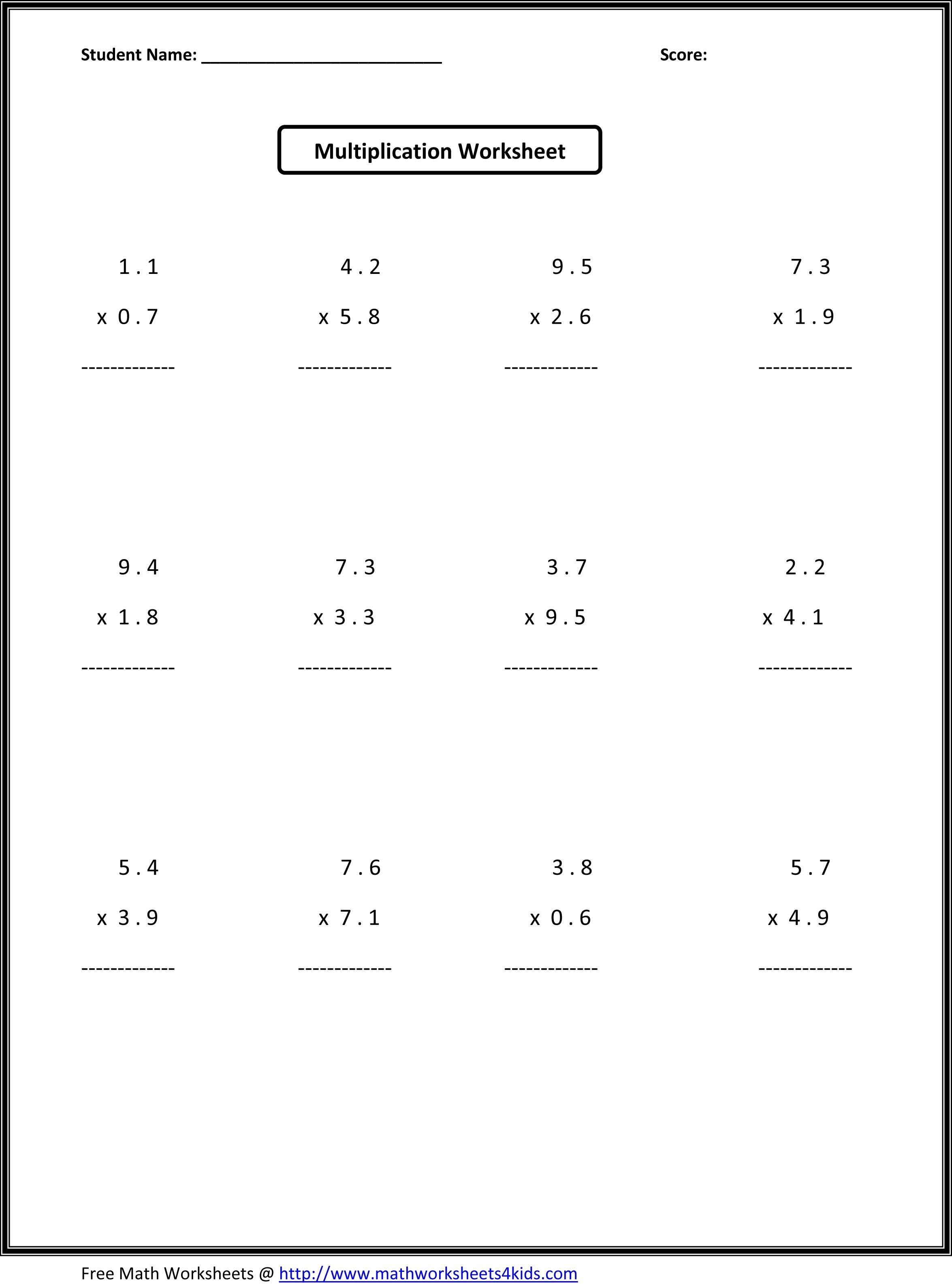 7Th Grade Math Worksheets | Value Worksheets Absolute Value - Multiplying Decimals Free Printable Worksheets