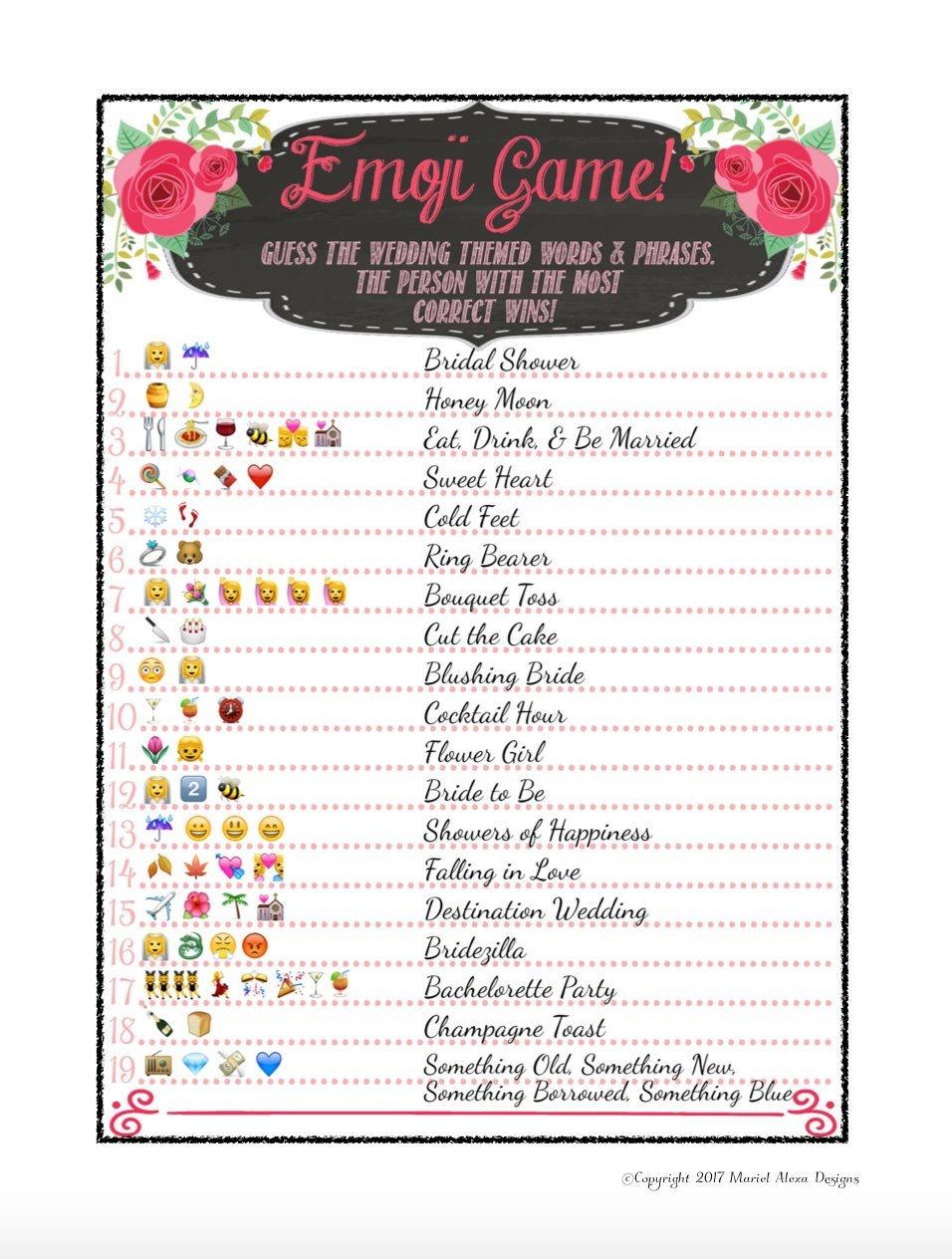 8 Free Printable Bridal Shower Games - Download Some Fun Today! | My - Wedding Emoji Pictionary Free Printable