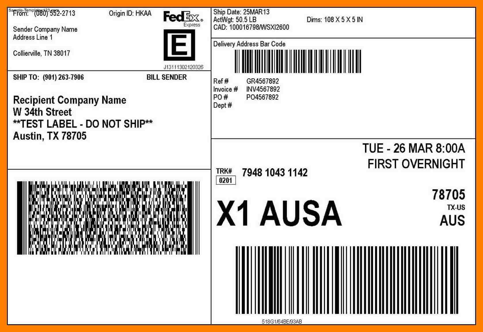8+ Free Printable Shipping Label Template | Reptile Shop Birmingham - Free Printable Shipping Labels