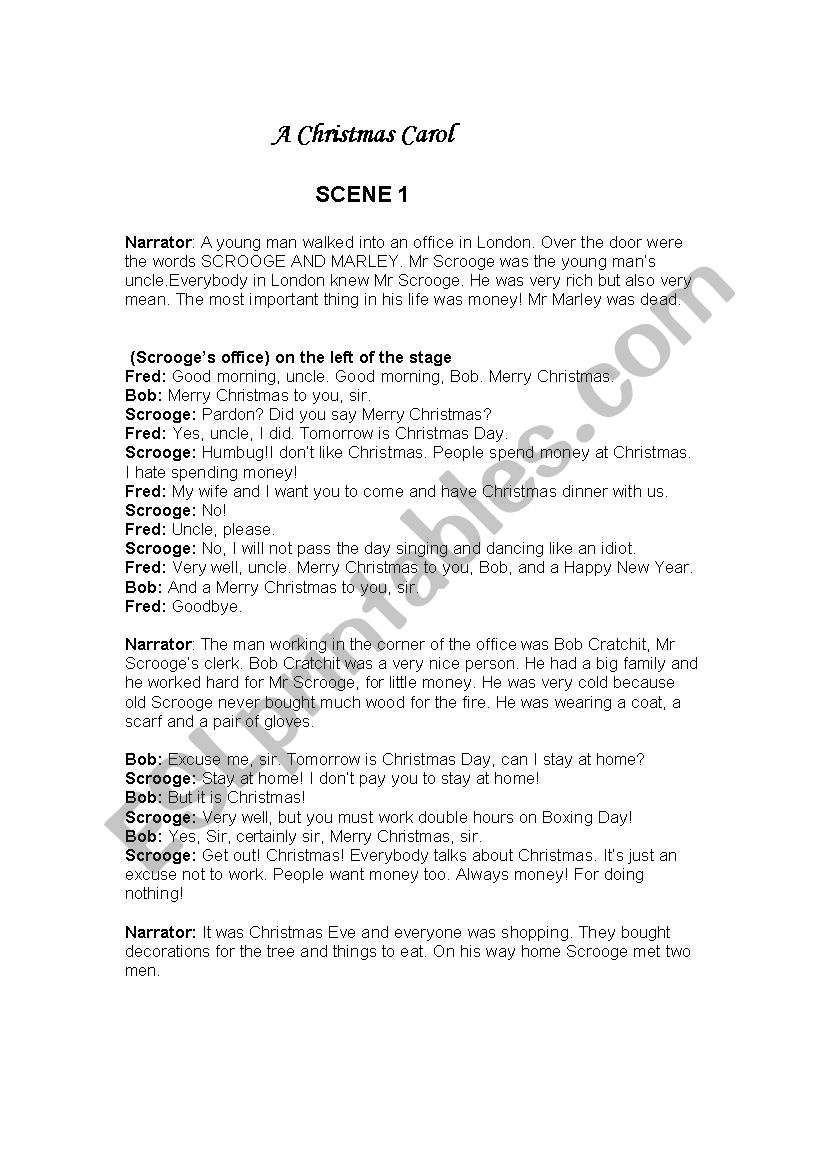 A Christmas Carol Simple And Short Play Script - Esl Worksheetmagir - Free Printable Play Scripts