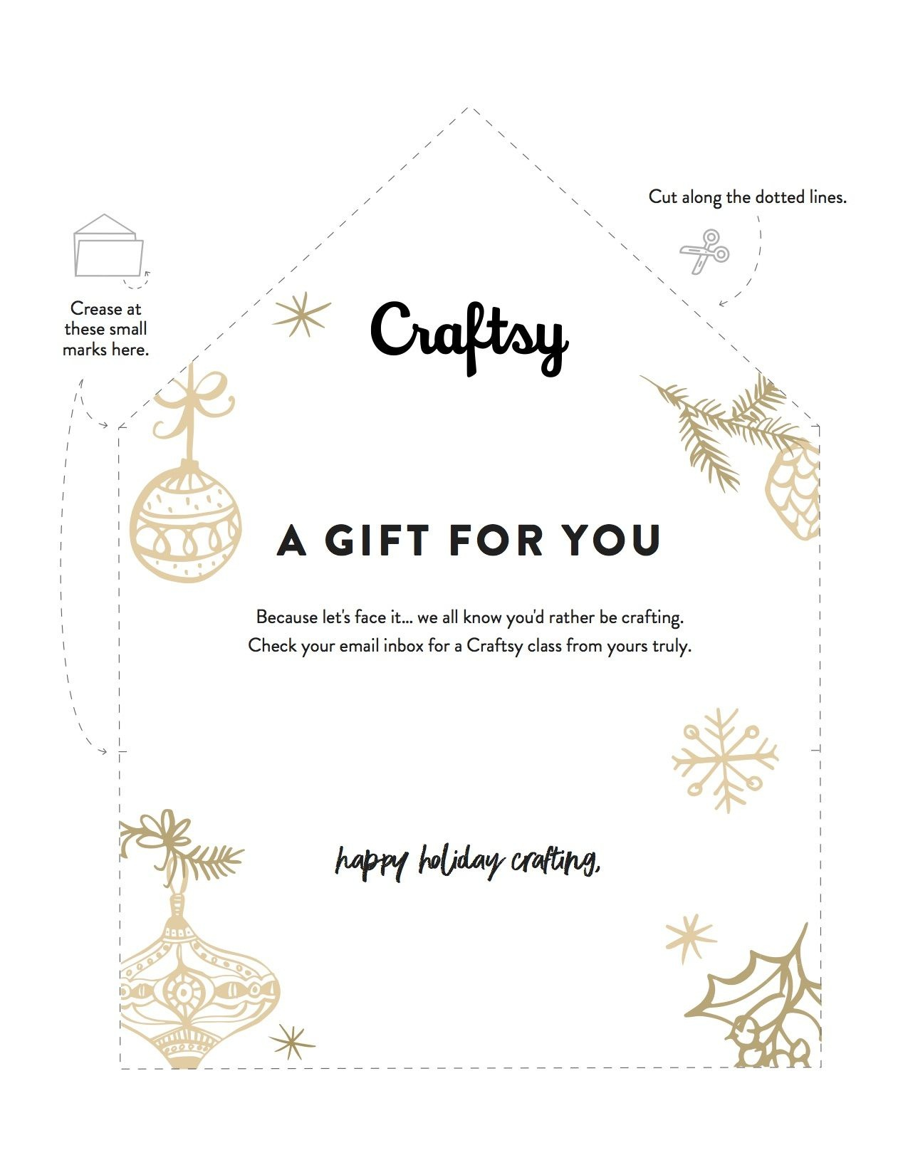A Free Printable Gift Certificate For Craftsy Classes | Printables - Free Printable Xmas Gift Certificates