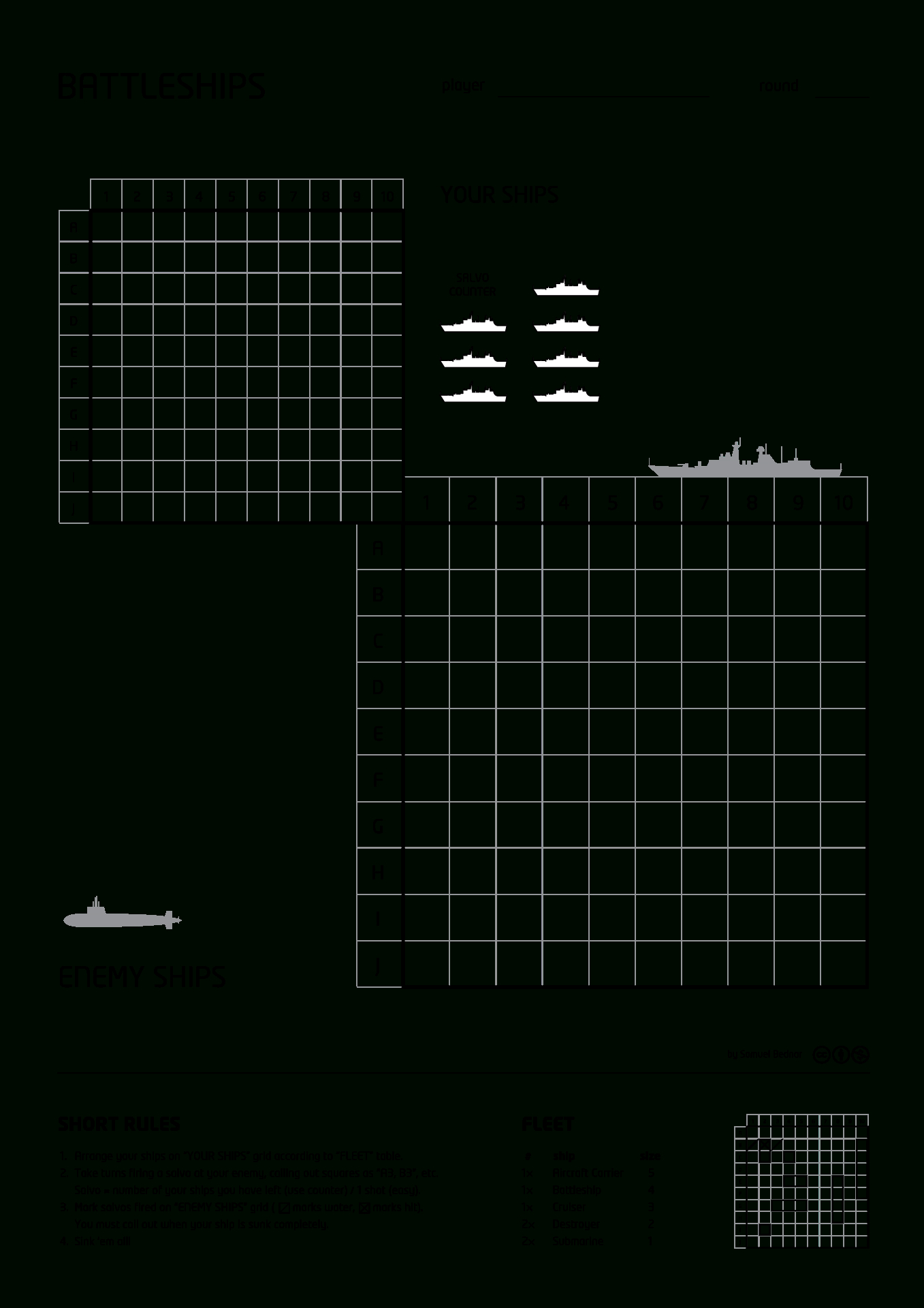 A Typical Pen-And-Paper Version Of The Game, Showing The Large - Free Printable Battleship Game