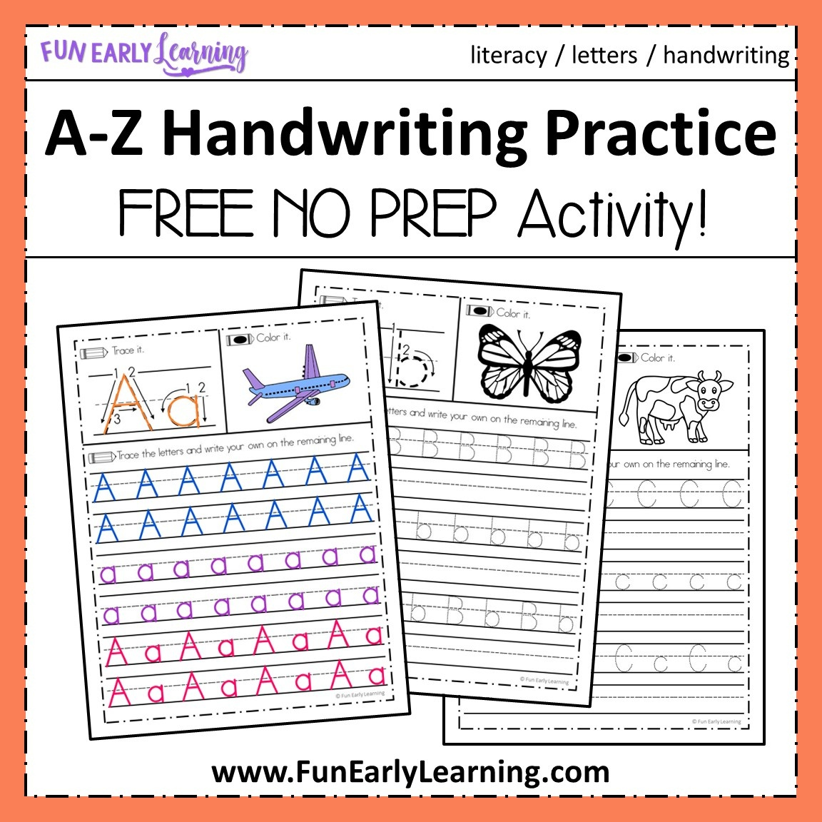 A-Z Handwriting Practice No Prep Worksheets For Learning Letters - Free Printable Worksheets Handwriting Practice