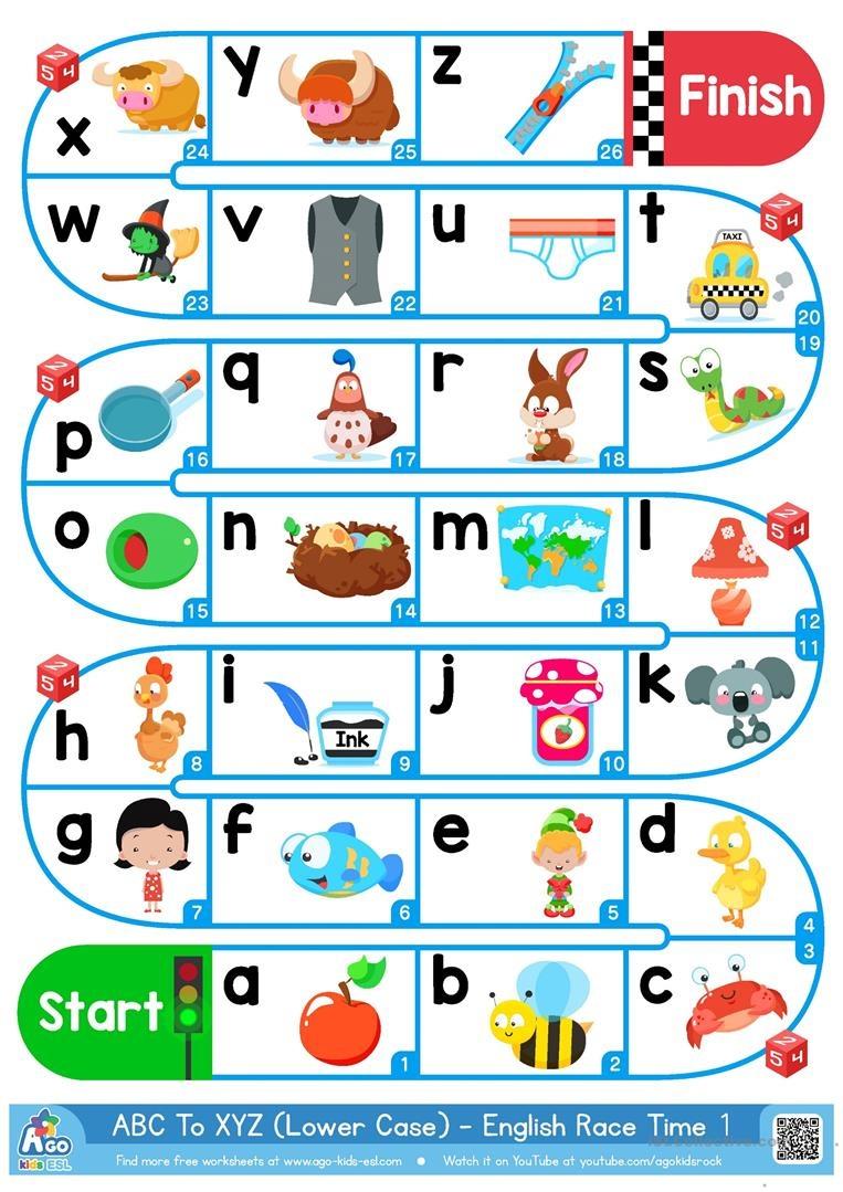 A-Z Lower Case Alphabet - Esl Board Game Worksheet - Free Esl - Free Printable Alphabet Board Games