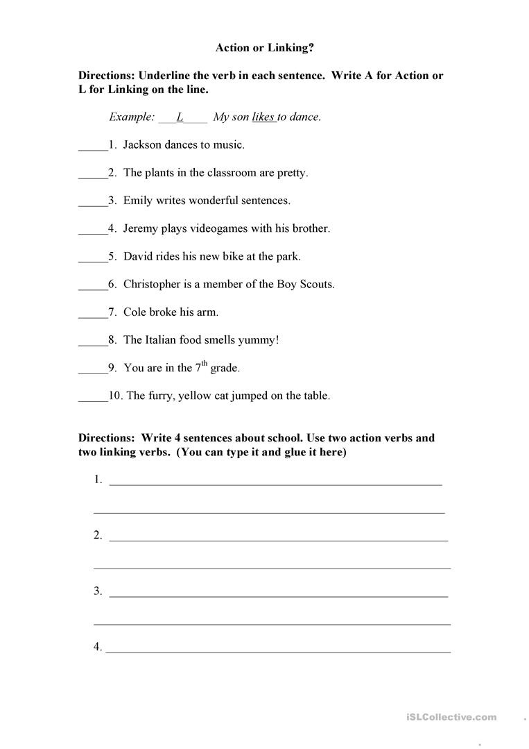 Action Or Linking Verb? Worksheet - Free Esl Printable Worksheets - Free Printable Verb Worksheets