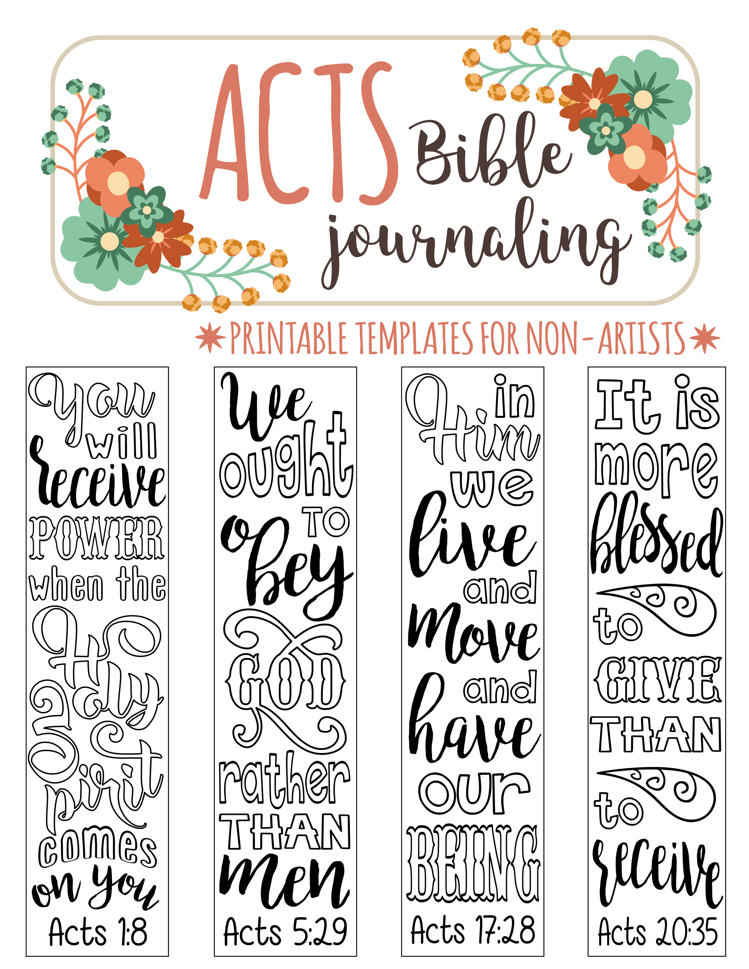 Acts - 4 Bible Journaling Printable Templates, Illustrated Christian - Free Printable Bible Bookmarks Templates