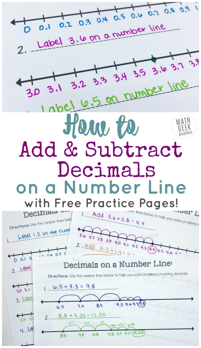 Add & Subtract Decimals On A Number Line {Free Printable Number Lines!} - Free Printable Number Line For Kids