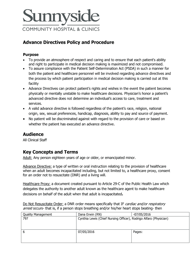 Advance Directives Policy And Procedure Fill Online, Printable - Free Printable Advance Directive Form