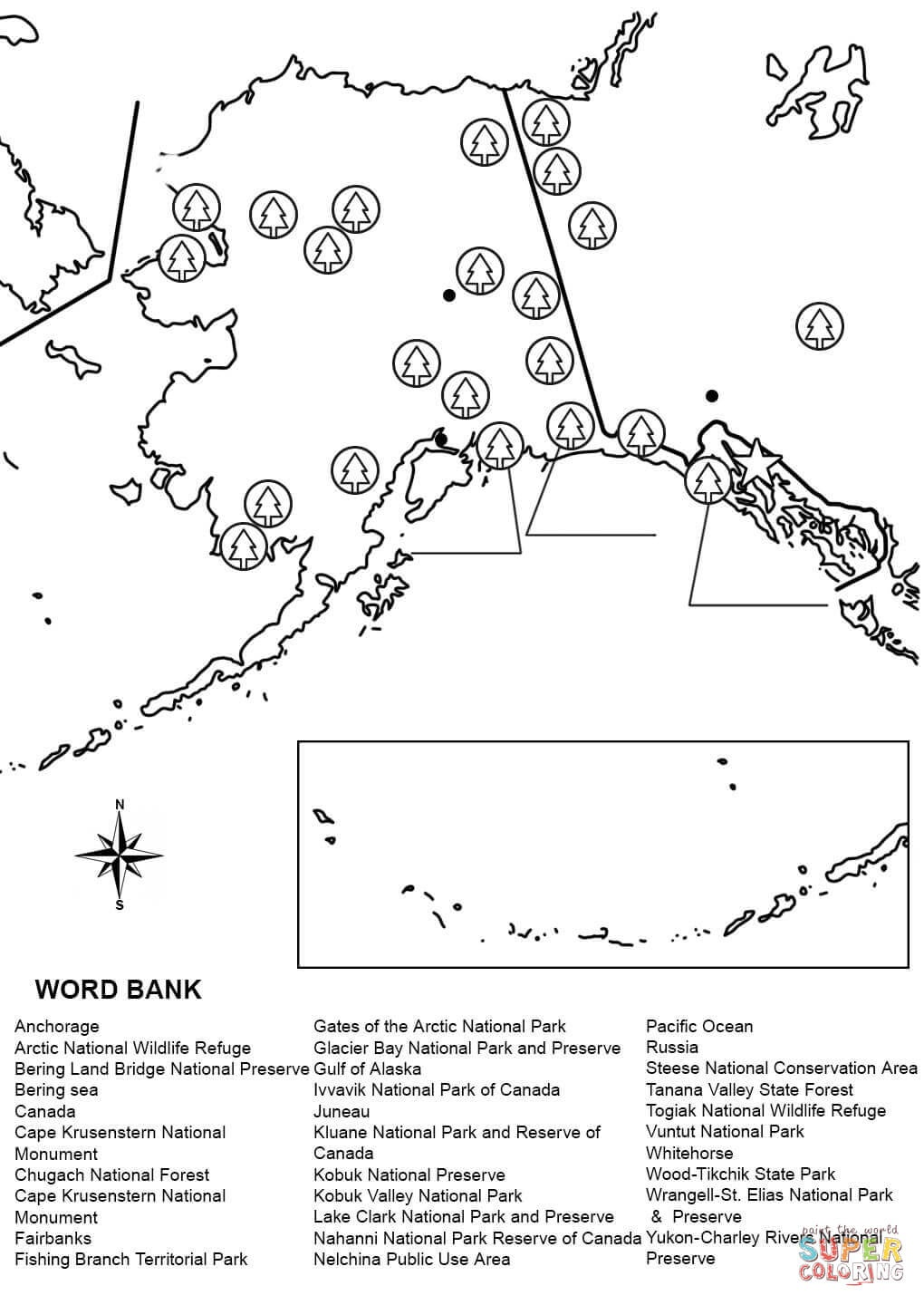 Alaska Map Worksheet Coloring Page | Free Printable Coloring Pages - Free Printable Pictures Of Alaska