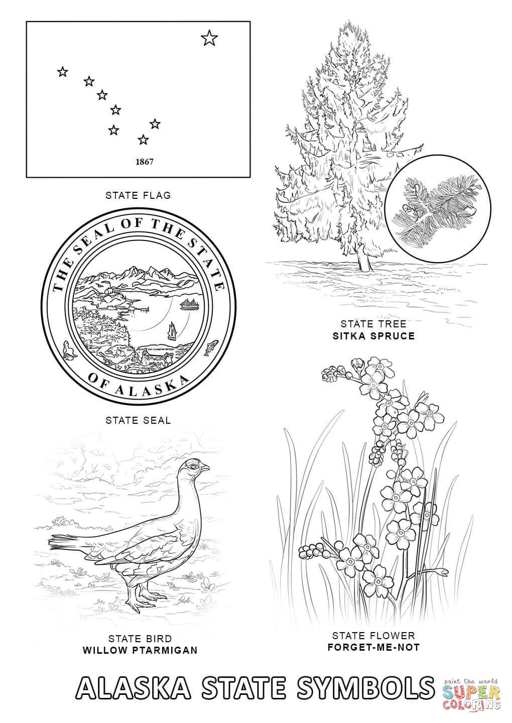 Alaska State Symbols Coloring Page | Free Printable Coloring Pages - Free Printable Pictures Of Alaska