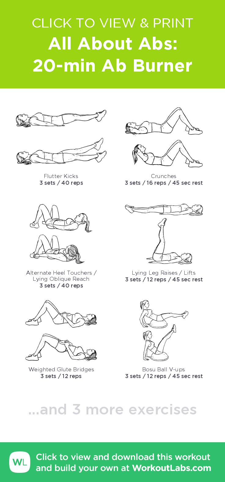 All About Abs: 20-Min Ab Burner – Click To View And Print This - Free Printable Gym Workout Routines