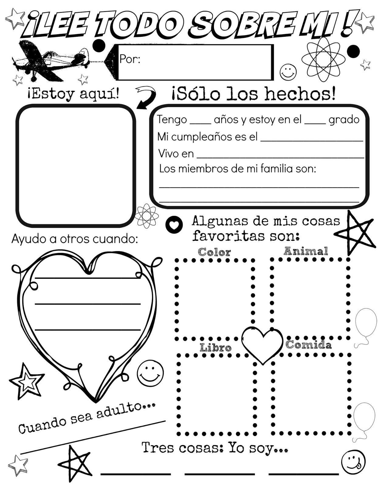 All About Me {Free Spanish Printable} | Discovering The World - Free Printable All About Me Poster