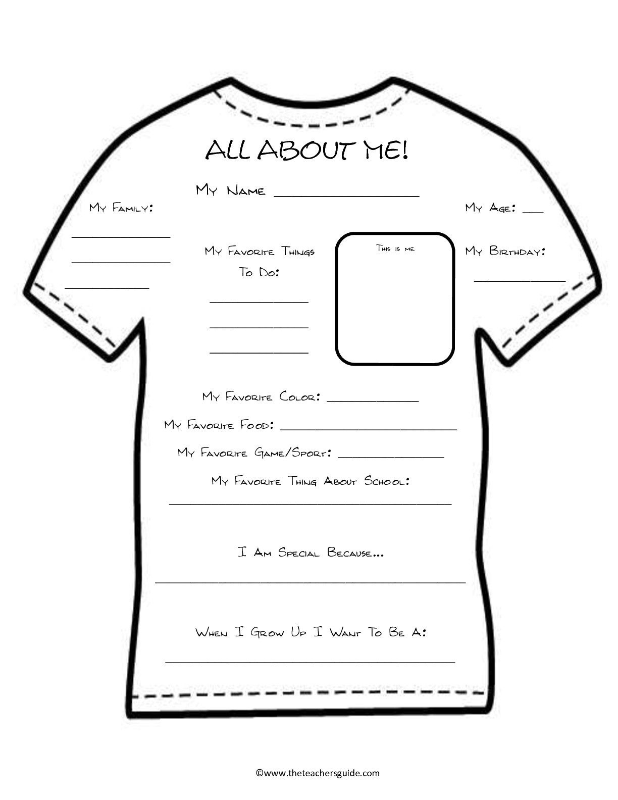 All About Me Template Worksheet | 1St Days Of School | All About Me - Free Printable All About Me Poster